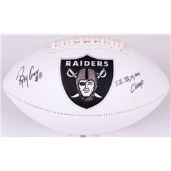 "Ray Guy Signed Raiders Logo Football Inscribed ""S.B. XI, XV, XVIII Champs"" (JSA COA)"