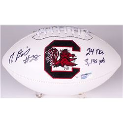 "Mike Davis Signed South Carolina Logo Football Inscribed ""24 TDs, 3195 Yds"" (Radtke COA)"