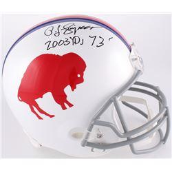 "O. J. Simpson Signed Bills Throwback Full-Size Helmet Inscribed ""2003 YDs 73'"" (JSA COA)"