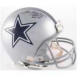 "Roger Staubach Signed Cowboys Full-Size Authentic On-Field Helmet Inscribed ""SBVI MVP""  ""HOF '85""(JS"