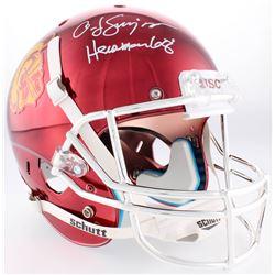 "O.J. Simpson Signed USC Trojans Full-Size Red Chrome Helmet Inscribed ""Heisman 68'"" (JSA COA)"