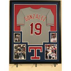 Juan Gonzalez Signed Rangers 34x42 Custom Framed Jersey (JSA COA)
