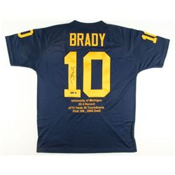 Tom Brady Signed Michigan Wolverines Limited Edition Career Highlight Stat Jersey (Steiner COA  Tris