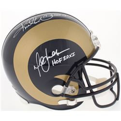 "Kurt Warner  Marshall Faulk Signed Rams Full-Size Helmet Inscribed ""HOF 17""  ""HOF 20XI"" (Warner Holo"