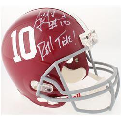"""AJ McCarron Signed Alabama Crimson Tide Full-Size Helmet Inscribed """"Roll Tide!"""" (Radtke Hologram)"""