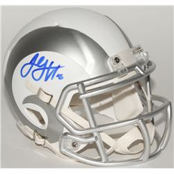 Jared Goff Signed Rams Custom Matte White ICE Mini Speed Helmet (Fanatics Hologram)