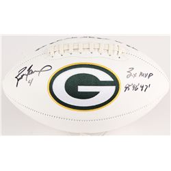 """Brett Favre Signed Packers Logo Football Inscribed """"3x MVP""""  """"95' 96' 97'"""" (Radtke COA)"""