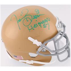 "Tim Brown Signed Notre Dame Fighting Irish Mini-Helmet Inscribed ""Heisman 87"" (Radtke COA)"