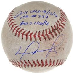 "David Ortiz Signed Game-Used Limited Edition OML Baseball Inscribed ""Game Used 9/15/16, HR# 537, Pas"
