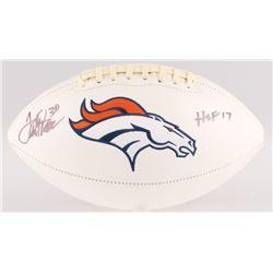 """Terrell Davis Signed Denver Broncos Logo Football Inscribed """"HOF 17"""" (JSA COA)"""