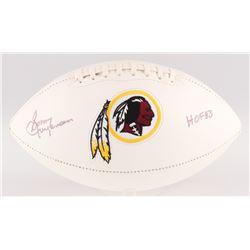"""Sonny Jurgensen Signed Washington Redskins Logo Football Inscribed """"HOF 83"""" (JSA COA)"""