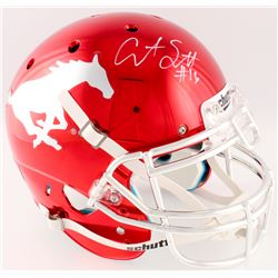 Courtland Sutton Signed Southern Methodist Mustangs Full-Size Authentic Chrome Helmet (Radtke COA)