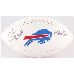 """Cornelius Bennett Signed Bills Logo Football Inscribed """"1990 All Decade Team"""" (JSA COA)"""
