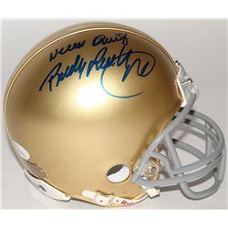 "Rudy Ruettiger Signed Notre Dame Fighting Irish Mini Helmet Inscribed ""Never Quit"" (JSA COA)"