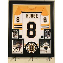 Ken Hodge Signed Bruins 34x42 Custom Framed Jersey Display (Leaf COA)