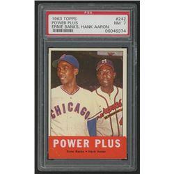1963 Topps #242 Power Plus / Ernie Banks / Hank Aaron (PSA 7)