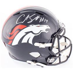 Courtland Sutton Signed Broncos Full-Size Speed Helmet (JSA COA)