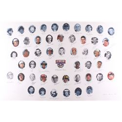 NASCAR 50 Greatest Drivers 1948-1998 26x39 Lithograph Signed by (34) with Dale Earnhardt Sr., Richar