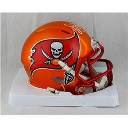 """Warren Sapp Signed Buccaneers Blaze Speed Mini Helmet Inscribed """"HOF-13""""  (JSA COA)"""