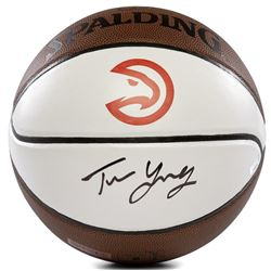 Trae Young Signed Hawks Logo Throwback Basketball (Panini COA)