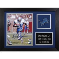 Barry Sanders Signed Lions 14x18.5 Custom Framed Photo Display (PSA COA)
