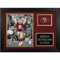 Joe Montana Signed 49ers 14x18.5 Custom Framed Photo Display (Beckett COA  Montana Hologram)
