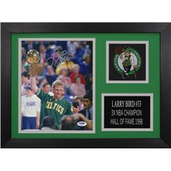 Larry Bird Signed Celtics 14x18.5 Custom Framed Photo Display (PSA COA)