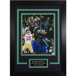 Richard Sherman Signed Seahawks 14x18.5 Custom Framed Photo Display (Sherman COA)