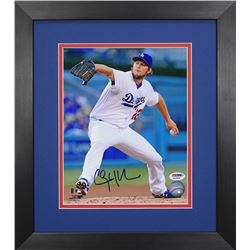 Clayton Kershaw Signed Dodgers 13.75x15.5 Custom Framed Photo Display (PSA COA)