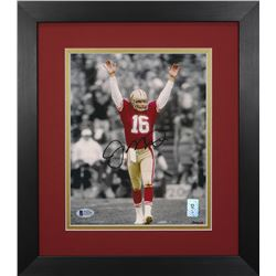 Joe Montana Signed 49ers 13.75x15.5 Custom Framed Photo Display (Beckett COA  Montana Hologram)