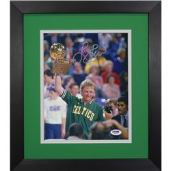 Larry Bird Signed Celtics 13.75x15.5 Custom Framed Photo Display (PSA COA)