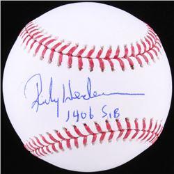 """Rickey Henderson Signed OML Baseball Inscribed """"1406 SB"""" (JSA COA)"""