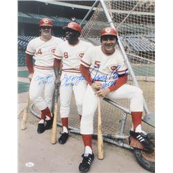 Joe Morgan, Johnny Bench,  Pete Rose Signed Cincinnati Reds 16x20 Photo With Multiple Inscriptions (