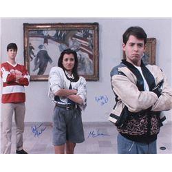 "Matthew Broderick, Mia Sara  Alan Ruck Signed ""Ferris Bueller's Day Off"" 16x20 Photo (Schwartz COA)"