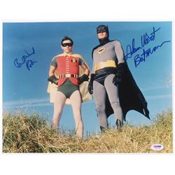 "Adam West  Burt Ward Signed ""Batman"" 11x14 Photo Inscribed ""Batman""  ""Robin"" (PSA COA)"