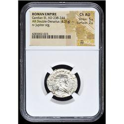 238-244 AD Roman Empire Gordian III AR (Silver) Double-Denarius (4.31g) rv Jupiter Standing (NGC Ch