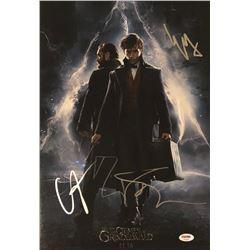 "Ezra Miller, Callum Turner  Dan Fogler Signed ""Fantastic Beasts: The Crimes of Grindelward"" 12x18 Ph"