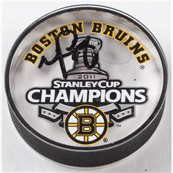 Nathan Horton Signed Bruins 2011 Stanley Cup Champions Logo Hockey Puck (JSA COA)