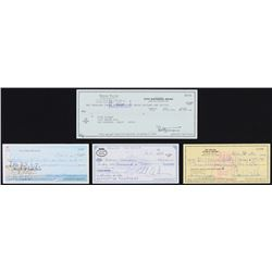 Lot of (4) Signed Personal Bank Checks with Joe Walsh, Eddie Van Halen, Bernie Taupin,  Linda Ronsta