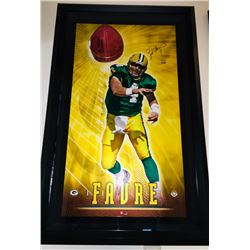 """Brett Favre Signed Packers """"Breaking Through"""" 27.5x43.5 Custom Framed Limited Edition Photo Display"""