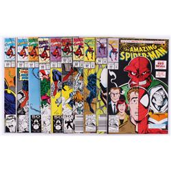 """Lot of (10) 1989-1992 Marvel """"The Amazing Spider-Man"""" Comic Books with #348, #349, #350"""