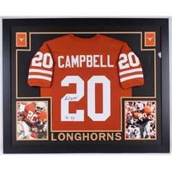 "Earl Campbell Signed Texas 35x43 Custom Framed Jersey Inscribed ""HT 77"" (JSA COA)"
