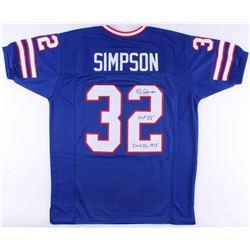 "O.J. Simpson Signed Bills Jersey Inscribed ""HOF 85""  ""2003 Yds 1973"" (JSA COA)"