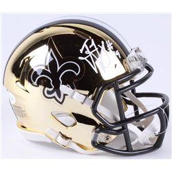 Ted Ginn Jr. Signed Saints Chrome Speed Mini-Helmet (JSA COA)