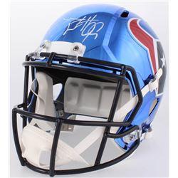 J. J. Watt Signed Texans Full-Size Chrome Speed Helmet (JSA COA  Watt Hologram)