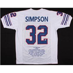 "O.J. Simpson Signed Bills Career Highlight Stat Jersey Inscribed ""H.O.F. 85'"" (JSA COA)"