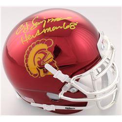 "O.J. Simpson Signed USC Trojans Chrome Mini Helmet Inscribed ""Heisman 68'""(JSA COA)"