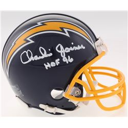 """Charlie Joiner Signed Chargers Throwback Mini-Helmet Inscribed """"HOF 96"""" (Jersey Source COA)"""