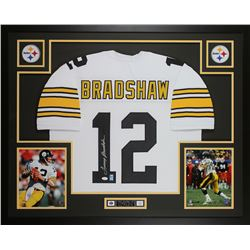 Terry Bradshaw Signed Steelers 35x43 Custom Framed Jersey Display (JSA COA  Bradshaw Hologram)