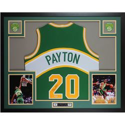 Gary Payton Signed SuperSonics 35x43 Custom Framed Jersey Display (PSA COA)